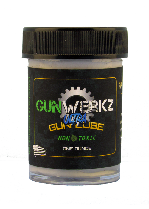 Ultra Gun Lube in a one ounce jar with a screw-on cap.