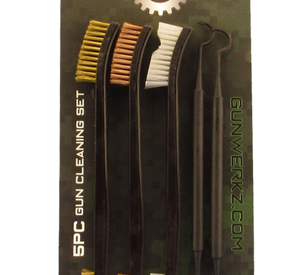5-Piece Double Ended Gun Cleaning Brush Set, Nylon Plastic and Copper Bristles and 2 double ended nylon picks