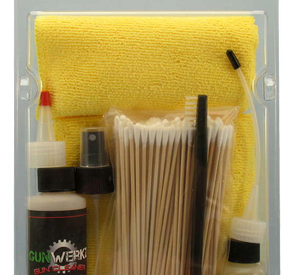 Cleaning kit for your firearms includes cleaner, oil, grease, double ended brush, cotton swabs and three microfiber towels. All packaged in a reclosable package.