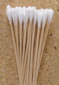 Close up view of cotton swabs