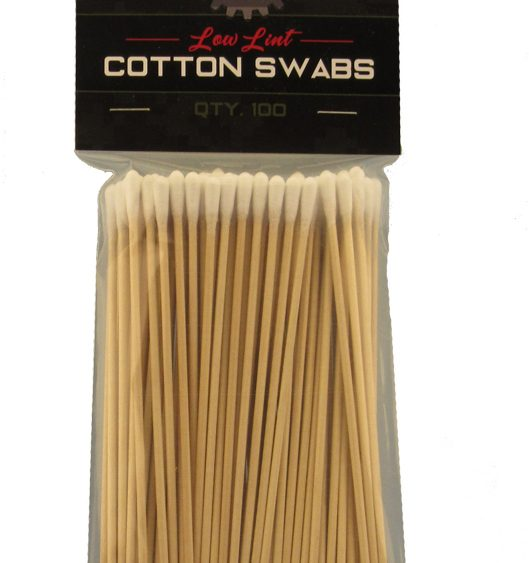 Bag of 100 low lint cotton swabs, made in America